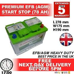 096 100 START STOP AGM 78AH Heavy Duty 12V Car Battery More power than AGM / EFB