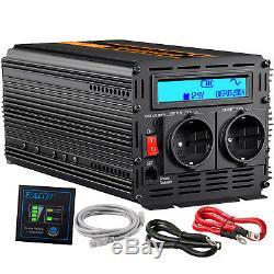 1000With2000W Reiner Sinus Spannungswandler 12V 230V Wechselrichter Inverter LCD