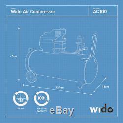 100l Litre Powerful Air Compressor 7cfm, 2hp, 115 Psi, With Paint Spray Gun Wido