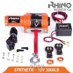 12v Electric Winch 3000lb Dyneema Rope ATV, Off Road, 4x4 Recovery RHINO
