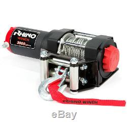 12v Electric Winch, 3000lb Heavy Duty, ATV, Trailer, Boat Recovery RHINO BLACK
