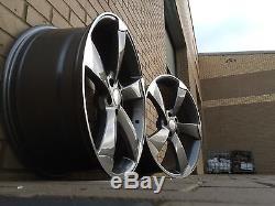 18 x4 New AUDI Style Alloy Wheels TTRS Rotor Style Black edition A3 A4 gunmetal