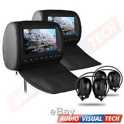 2X9 In Car HD Digital Headrest DVD Player Monitor, Twin Screens Dual Headrests