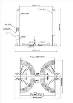 2 Post Lift / Car Vehicle Ramp / Lift / Hoist 3.5 T / 3500kg / Two Post Ramp