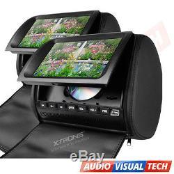 2x In Car Headrest Twin Dual Monitor DVD Player 9 Digital Screen USB/SD BLACK