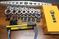 36 Pcs Dimple die + Hydraulic hole punch set. 16 63mm cut, 1/2-2.5 in RADIUS