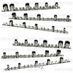 6 Piece Socket Rail Set Socket Storage Rail Holder 1/2 3/8 1/4 Square New