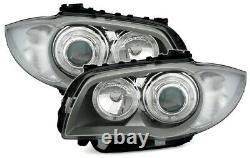 Angel Eyes Scheinwerfer Set weiße LED Ringe für 1er BMW E81 E82 E87 E88 Silber