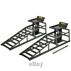 Auffahrrampen SET mit Hydraulisch Wagenheber 2T Rampe Hebebühne Hebeplattform