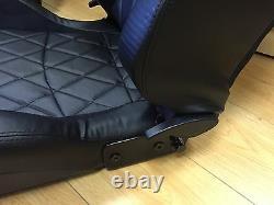 BB6 Reclining Bucket Sports Seats Black / Diamond Stitch Alacantra UNIVERSAL