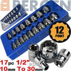 BERGEN 12 Point Socket Set 1/2 Drive Double Hex Shallow Sockets Tool Set 17pc