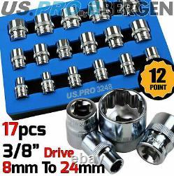 BERGEN 12 Point Socket Set 3/8 Drive Double Hex Shallow Sockets Set 17pc Tools