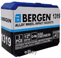 BERGEN Alloy Wheel Nut DEEP Thin Wall Impact Socket Set 1/2drive 17mm 19mm 21mm