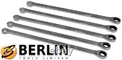 BERGEN Extra Long Double Ring Aviation Spanners With Ratchet End 8-19mm Wrenches
