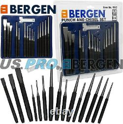 BERGEN Punch & Chisel Set 16pc Cold Chisels Center Punch PIN Punch Taper Punch