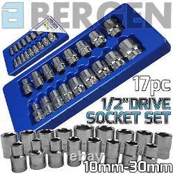 BERGEN Socket Set 17pc 1/2 Drive Shallow Sockets Set 10mm-30mm Socket Tool Set