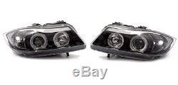 Bmw 3 Series E90 4 Door Saloon & E91 Estate Pair Black Led Angel Eye Headlights