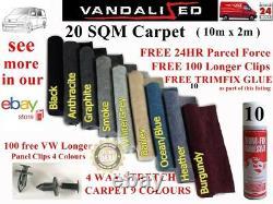 CAMPER VAN CARPET LINING VW TRANSPORTER 4 WAY STRETCH LONGER PANEL CLIPS 20sqm