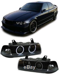 CCFL ANGEL EYES H1 H3 SCHEINWERFER SCHWARZ FÜR BMW 3ER E36 Limousine Touring