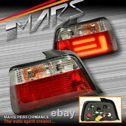 Clear Red 3D LED Stripe Bar Tail lights for BMW 3-Series E36 4 Doors Sedan
