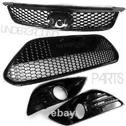 Ford Focus Mk2 Gloss Black Sport Honeycomb Front Bumper Grilles & Fog Surrounds