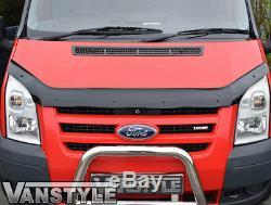 Ford Transit Mk7 2007-2013 Black Bonnet Wind Bug Deflector Protector & Sun Visor