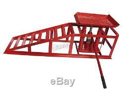 FoxHunter Vehicle Car Ramp Lift 2 Ton Hydraulic Jack Garage Heavy Duty Red x 2