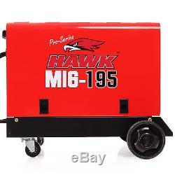 Hawk 195 Gas & No Gasless Flux Solid Wire Feed Mig Weld Welder Welding Machine