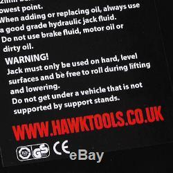Hawk 3 Ton Quick Lift Steel Garage Workshop Hydraulic Floor Trolley Lifting Jack