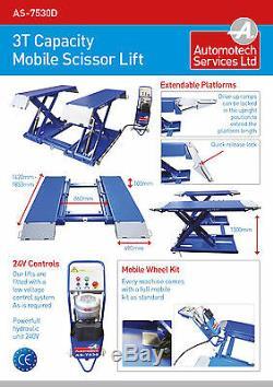 MOBILE SCISSOR CAR LIFT / VEHICLE LIFT / RAMP HOIST 3000Kg / MID RISE PLATFORM