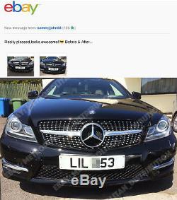 Mercedes C w204 saloon, estate, coupe grill, star/diamond/single fin, AMG C43, SILVER