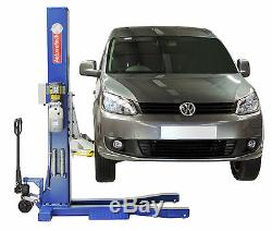 Mobile Single Post Vehicle Lift / Movable Portable 1 Post Car Ramp / 240v