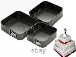 New 3pc Non Stick Springform Cake Pan Baking Bake Square Tray Tins 22/24/26cm