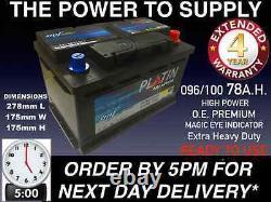 New Genuine OEM Heavy Duty Car Battery Type 096 100 78ah 4 YEAR GUARANTEE 24HR