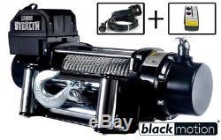 PROFI Seilwinde Elektrisch 12V BLACK MOTION STEALTH-OFFROAD FORST ANHÄNGER 5,9T