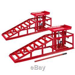 Pair 2x lifting car ramp jack 2t hydraulic adjustable heavy duty vehicle lift