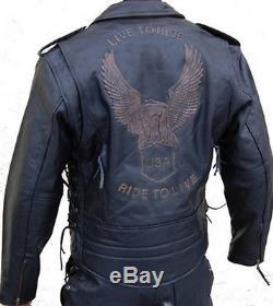 Retro Lederjacke Chopper Biker Rocker Leder Jacke Neu