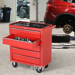 Roller Tool Cabinet Stoarge Box 5 Drawers Wheels Caster Garage Workshop Red