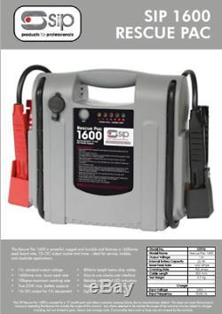 SIP 03936 Car Battery Power Booster Jump Starter Road Start Rescue Pack 1600 12v