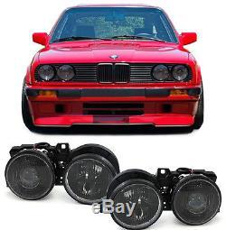 Scheinwerfer H1 H1 Schwarz Paar Für Bmw 3er E30 87-93
