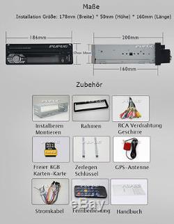 Single 1 Din Car Radio Touchscreen GPS SAT NAV Bluetooth CD DVD Player Stereo
