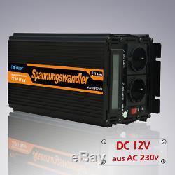 Spannungswandler 12V auf 230V 2000With4000W Wechselrichter (Inverter) LCD-Anzeige