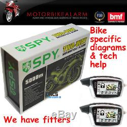 Spy Motorbike Motorcycle Alarm & Immobiliser + Rechargeable LCD Pager Remotes