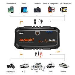 Suaoki U28 2000A Peak Car Jump Starter USB Power Bank Battery Charger Booster UK