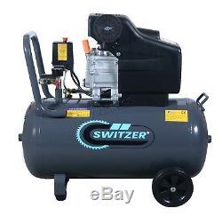 SwitZer Air Compressor 50L Litre LTR 2.5HP 8 BAR 230V 9.6CFM Wheel AC001 Grey