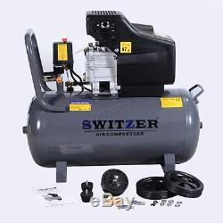 SwitZer Air Compressor 50L Litre LTR 2.5HP 8 BAR 230V 9.6CFM + Wheel AC001 Grey
