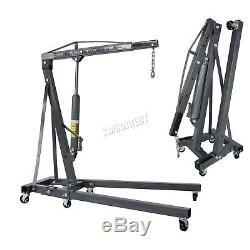 SwitZer Grey 2 Ton Hydraulic Folding Engine Crane Stand Hoist lift Jack Wheel