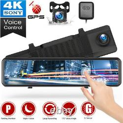 TOGUARD 4K GPS Mirror Car Dash Cam 12 Touch Screen Dual Front and Rear Camera