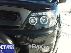 TOYOTA HILUX SR5 05-10 Double Cab BLACK LED Twin Halo Projector Headlight