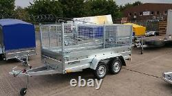 Twin Axle 8ft X 4 Ft Cage Car Trailer 750kg Unbraked With High Mesh Sieds 800mm